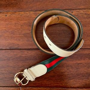 Authentic Gucci belt Belt Green Red Gold Leather